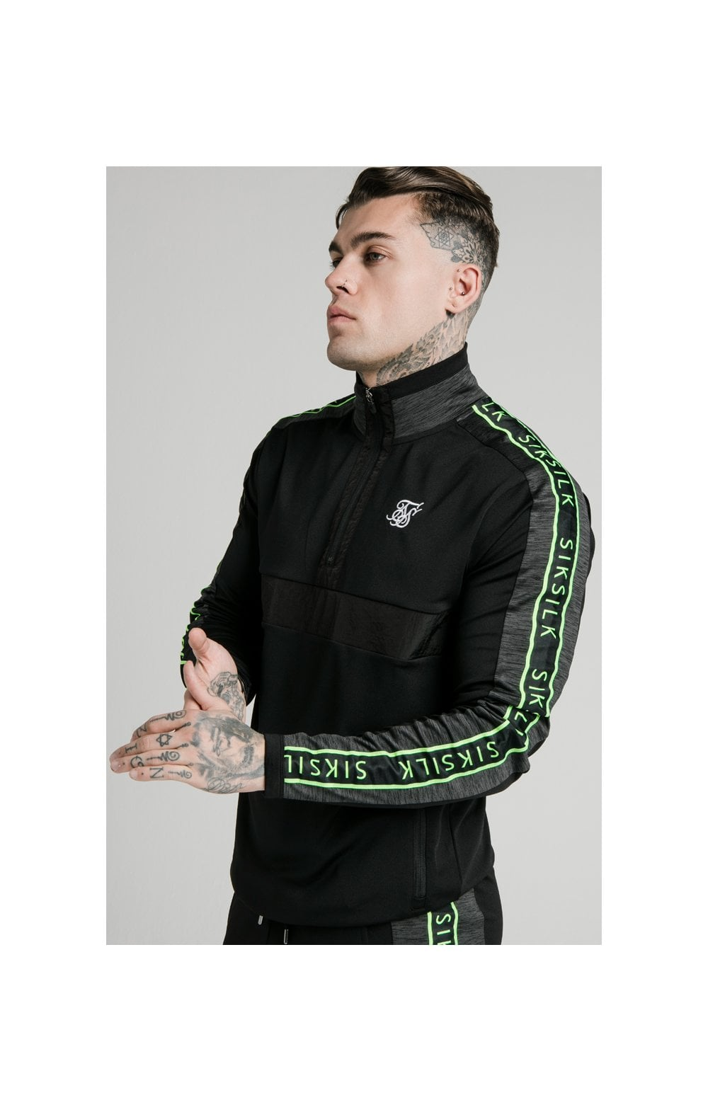 SikSilk Hyper Evo Quarter Zip Tape Funnel Hoodie - Black & Neon Fluro
