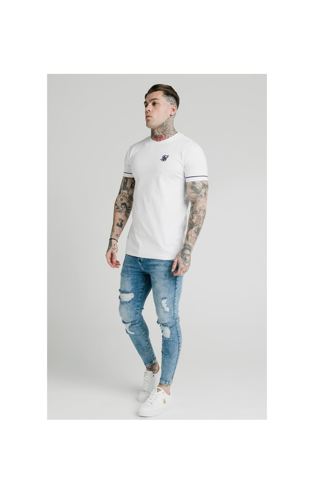 Load image into Gallery viewer, SikSilk S/S High Collar Tee - White (2)