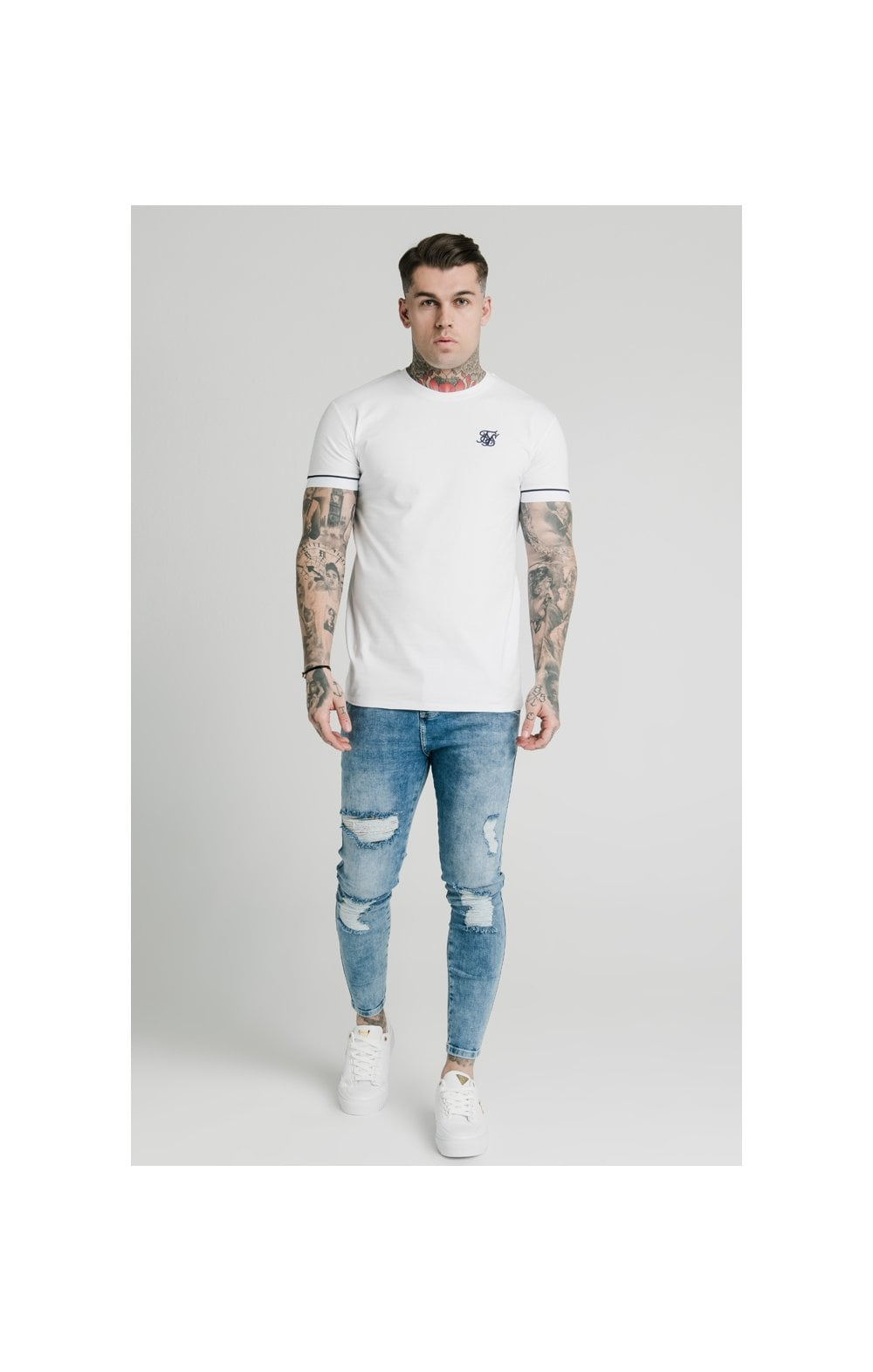 Load image into Gallery viewer, SikSilk S/S High Collar Tee - White (3)