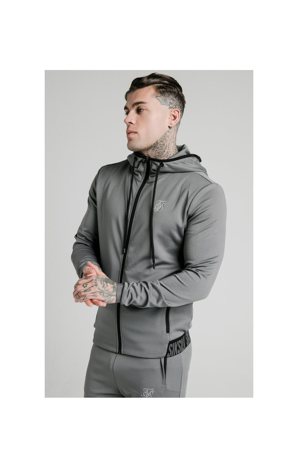 SikSilk Agility Active Zip Through Hoodie - Grey (1)
