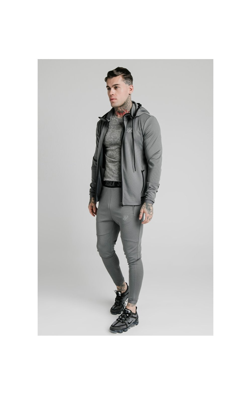 SikSilk Agility Active Zip Through Hoodie - Grey (2)