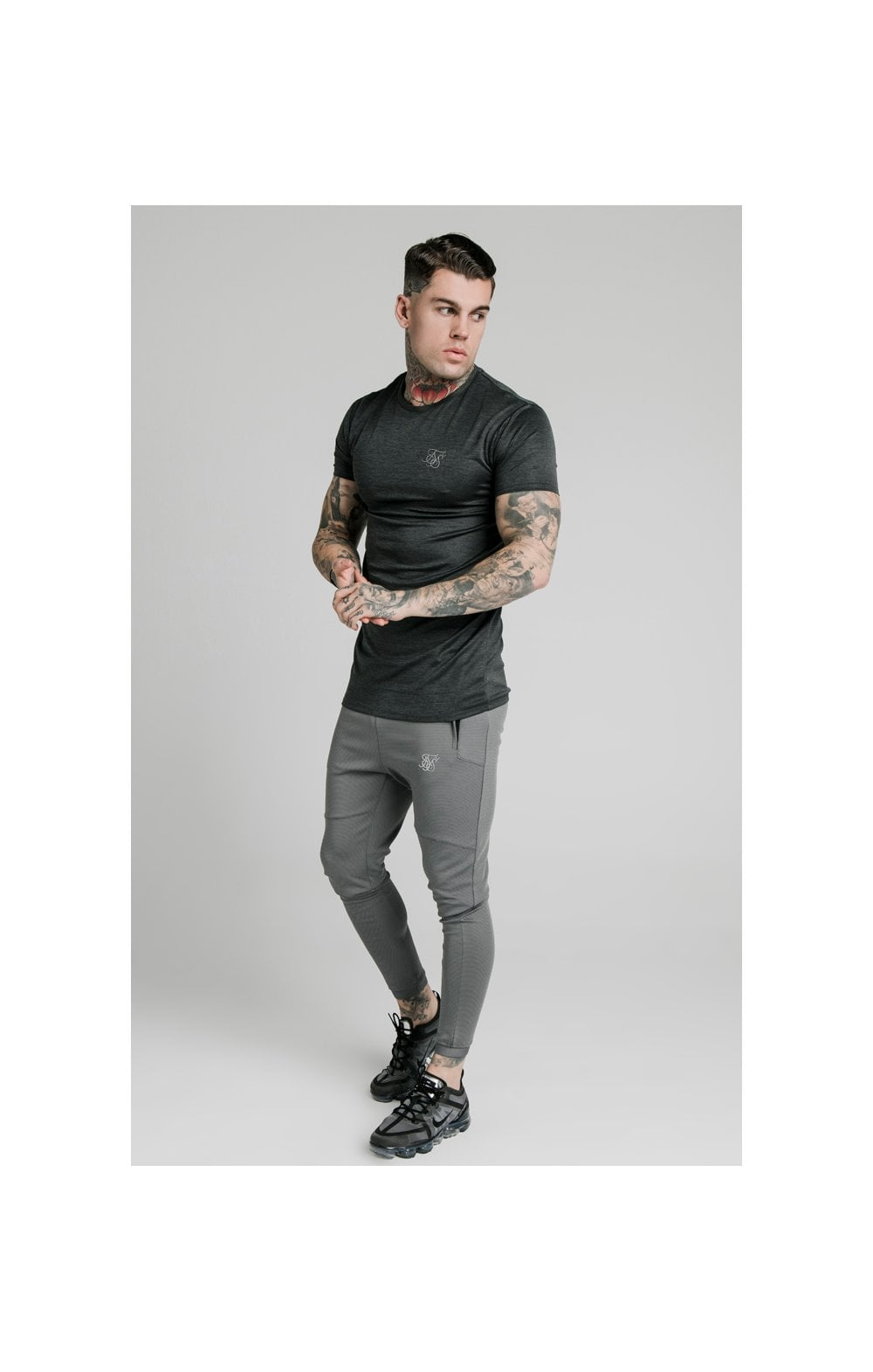 SikSilk Active Straight Hem Gym Tee - Charcoal Marl (3)