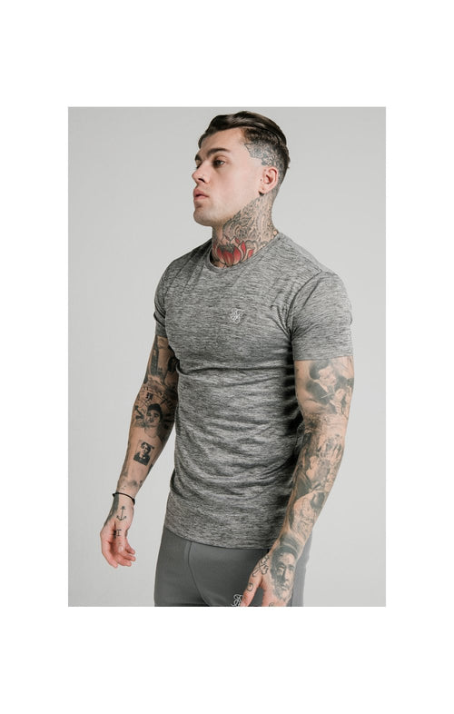 SikSilk Active Straight Hem Gym Tee - Grey Marl