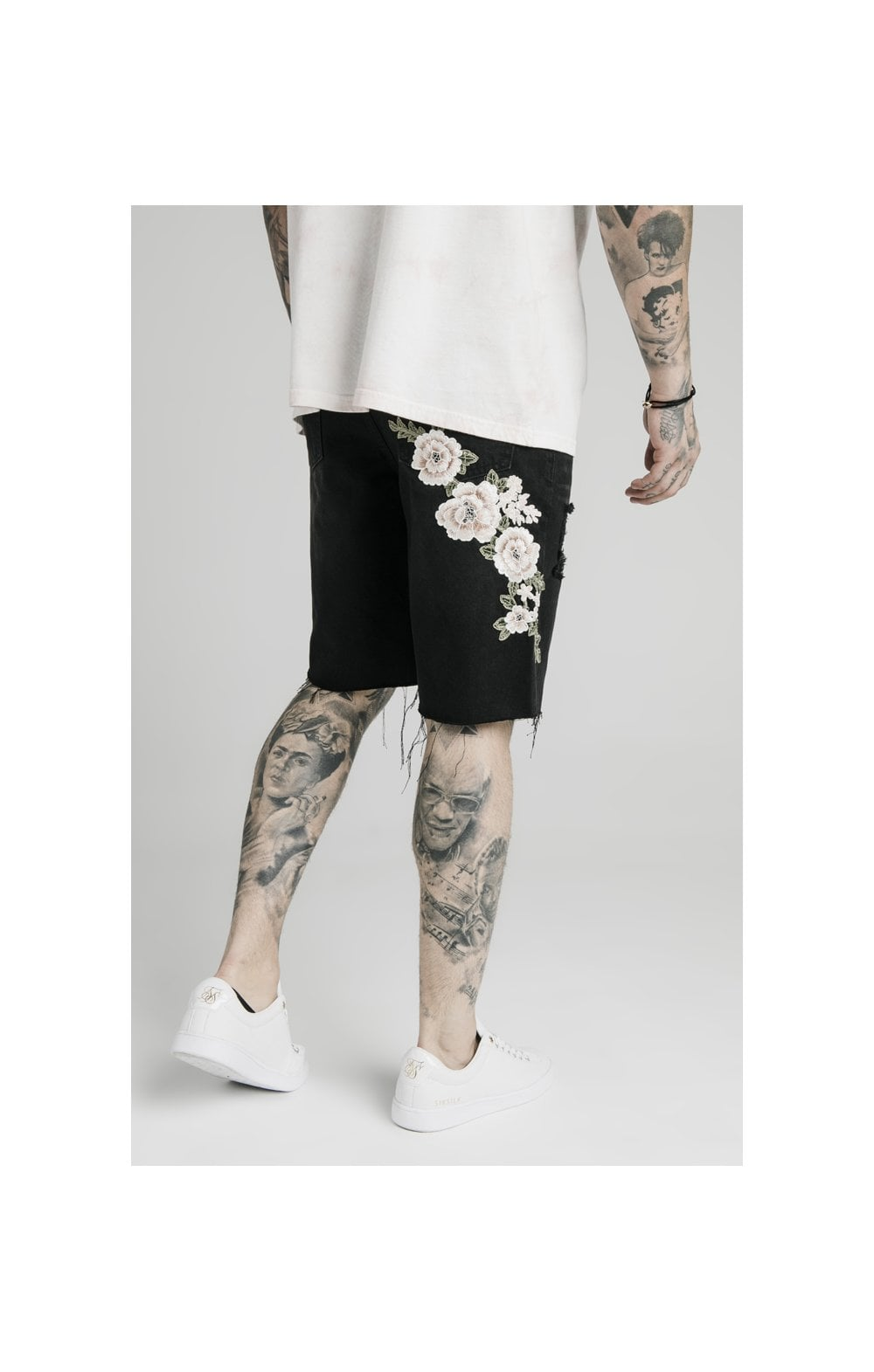 SikSilk Loose Fit Denim Shorts - Washed Black