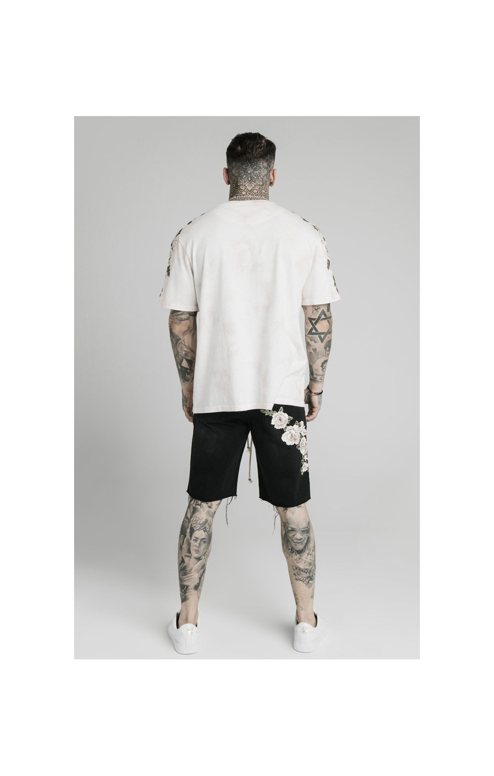 SikSilk Loose Fit Denim Shorts - Washed Black (4)