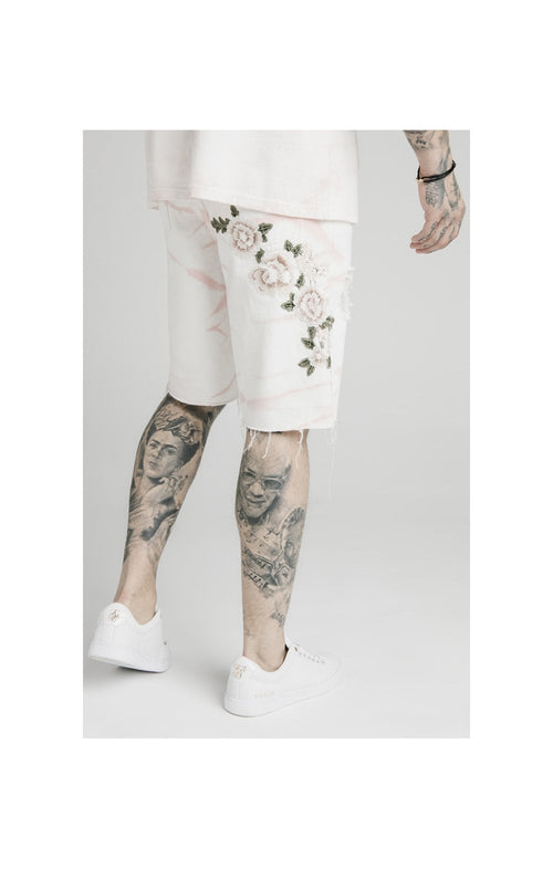 SikSilk Loose Fit Denim Shorts - Light Pink