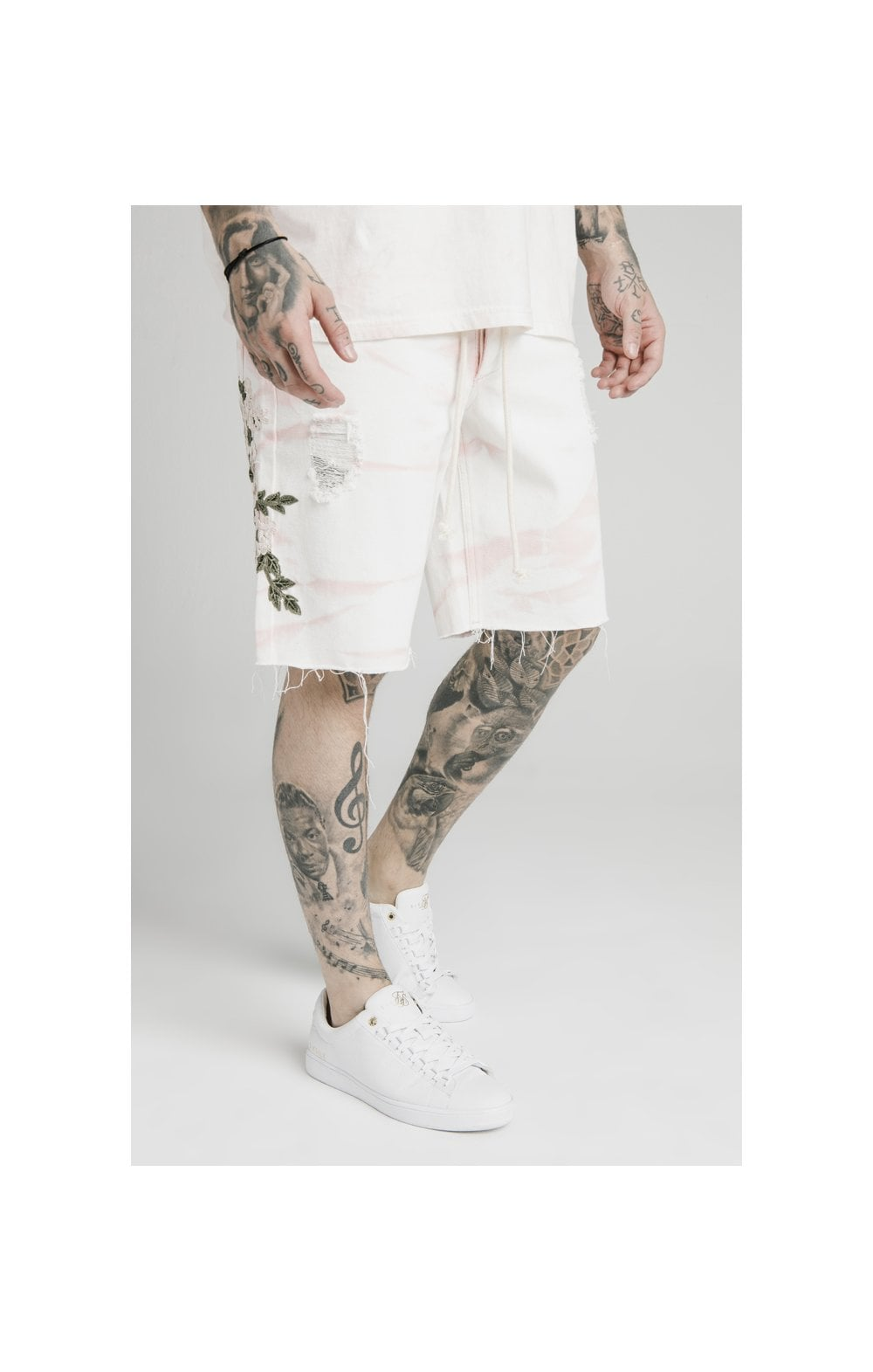 Load image into Gallery viewer, SikSilk Loose Fit Denim Shorts - Light Pink (1)