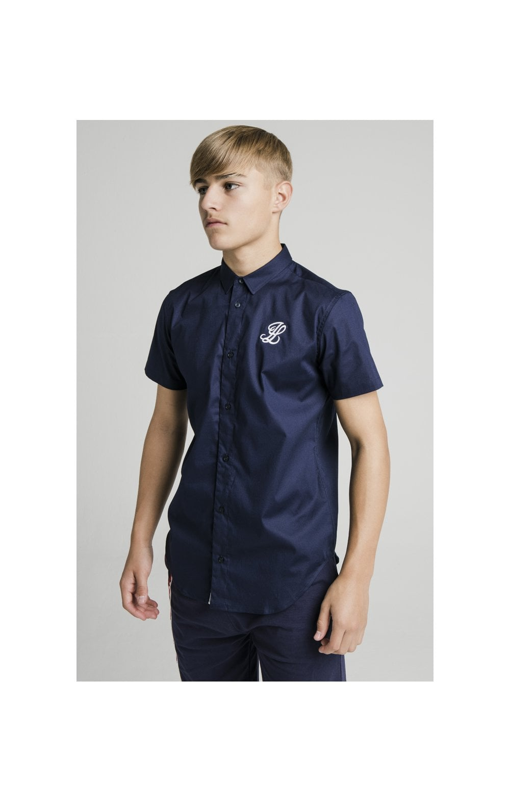 Illusive London S/S Grandad Shirt - Navy