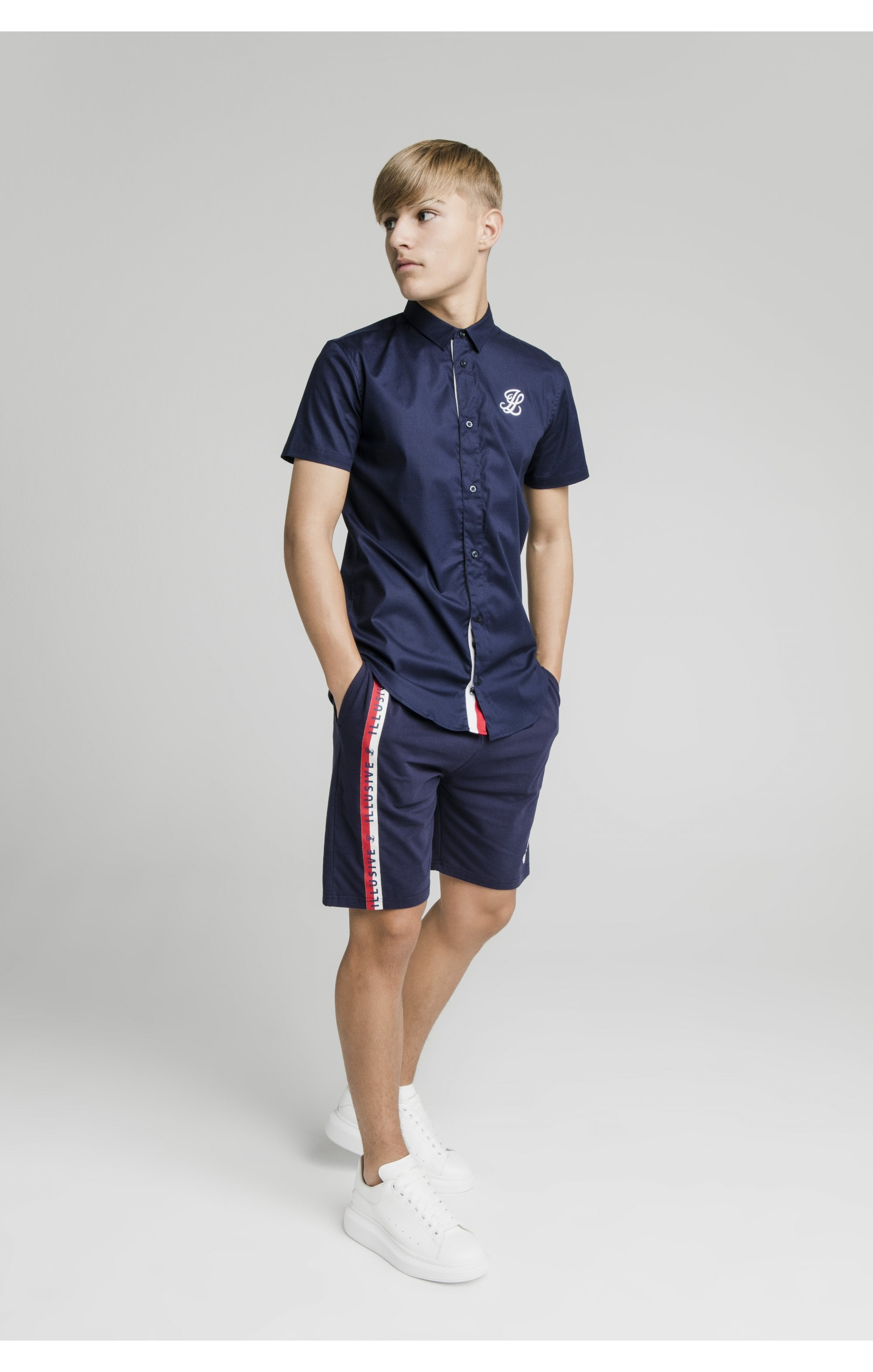 Illusive London S/S Grandad Shirt - Navy (3)