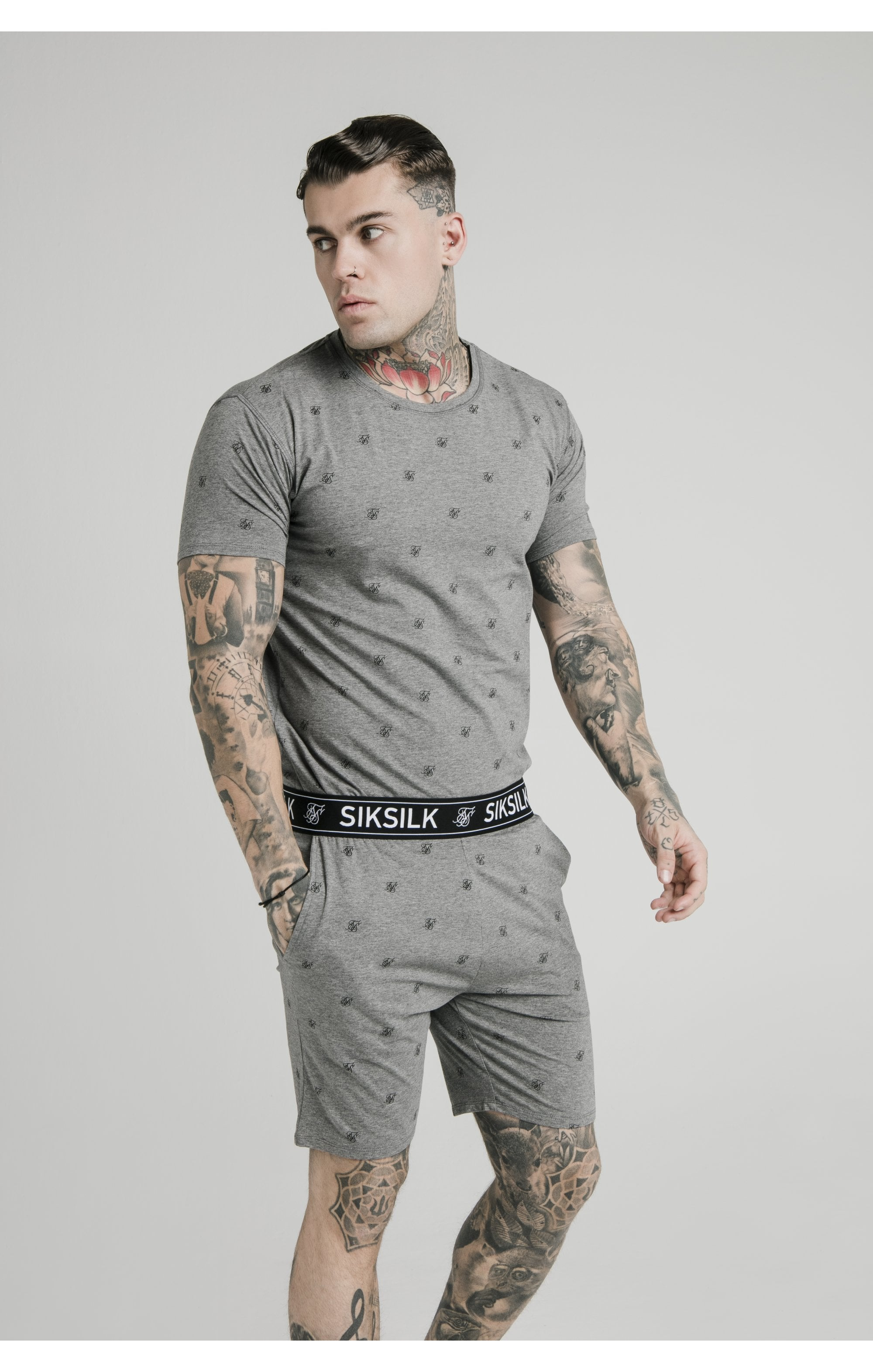 SikSilk Logo Jersey Shorts - Grey Marl (6)