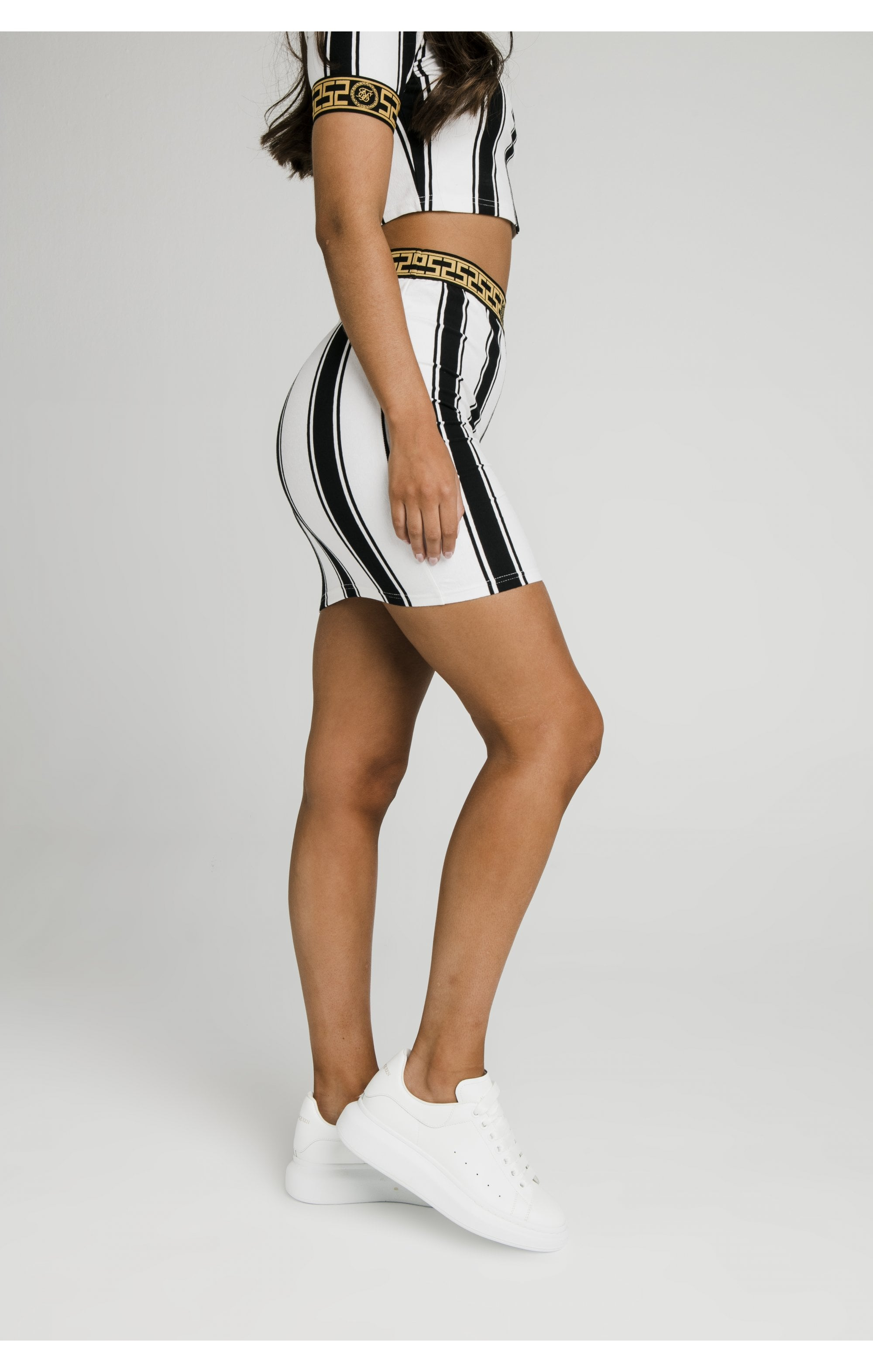 SikSillk Athena Stripe Skirt - Black & White (2)