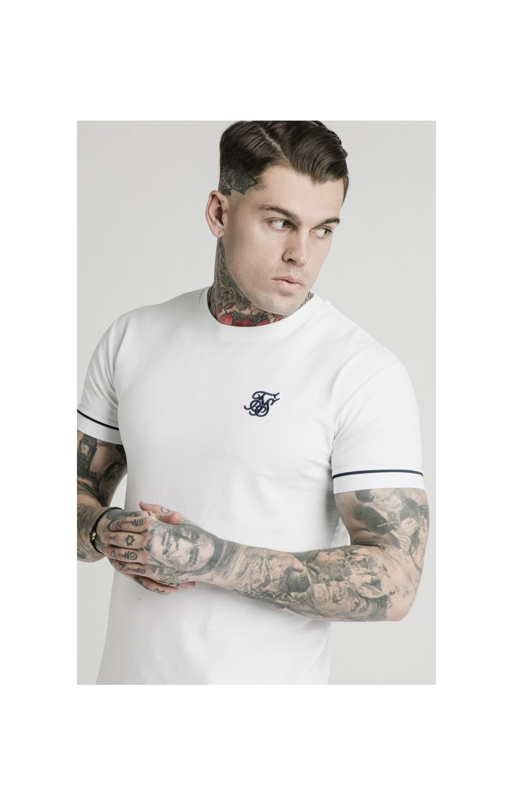 Load image into Gallery viewer, SikSilk S/S High Collar Tee - White