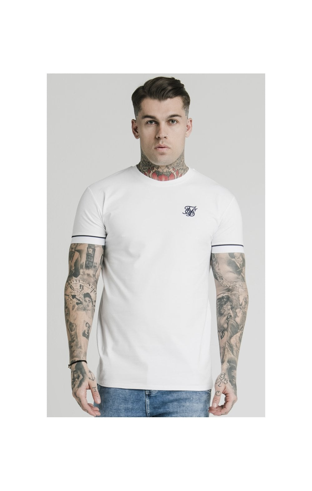 Load image into Gallery viewer, SikSilk S/S High Collar Tee - White (1)