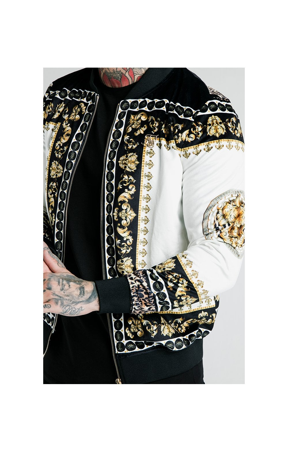 Load image into Gallery viewer, SikSilk x Dani Alves Bomber Jacket - Black, Off White & Gold (1)
