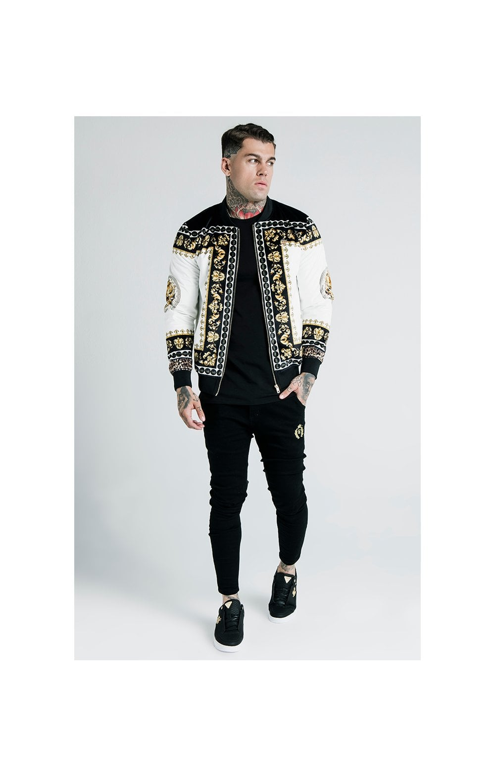 Load image into Gallery viewer, SikSilk x Dani Alves Bomber Jacket - Black, Off White & Gold (4)