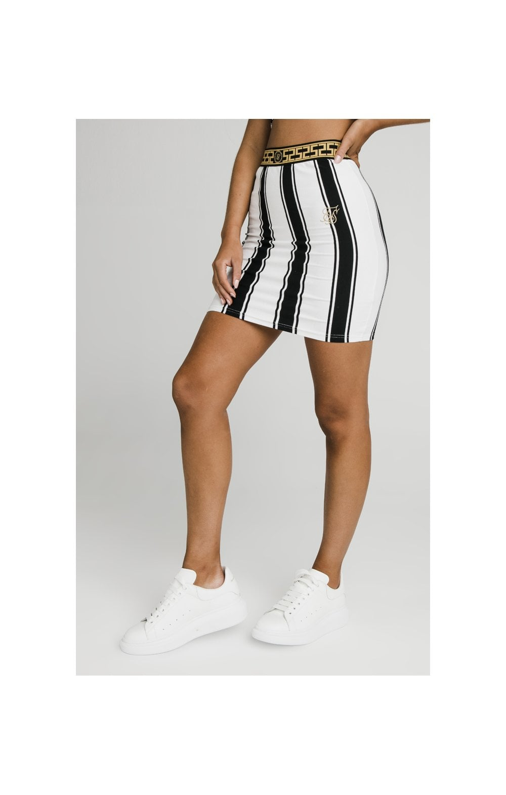 SikSillk Athena Stripe Skirt - Black & White