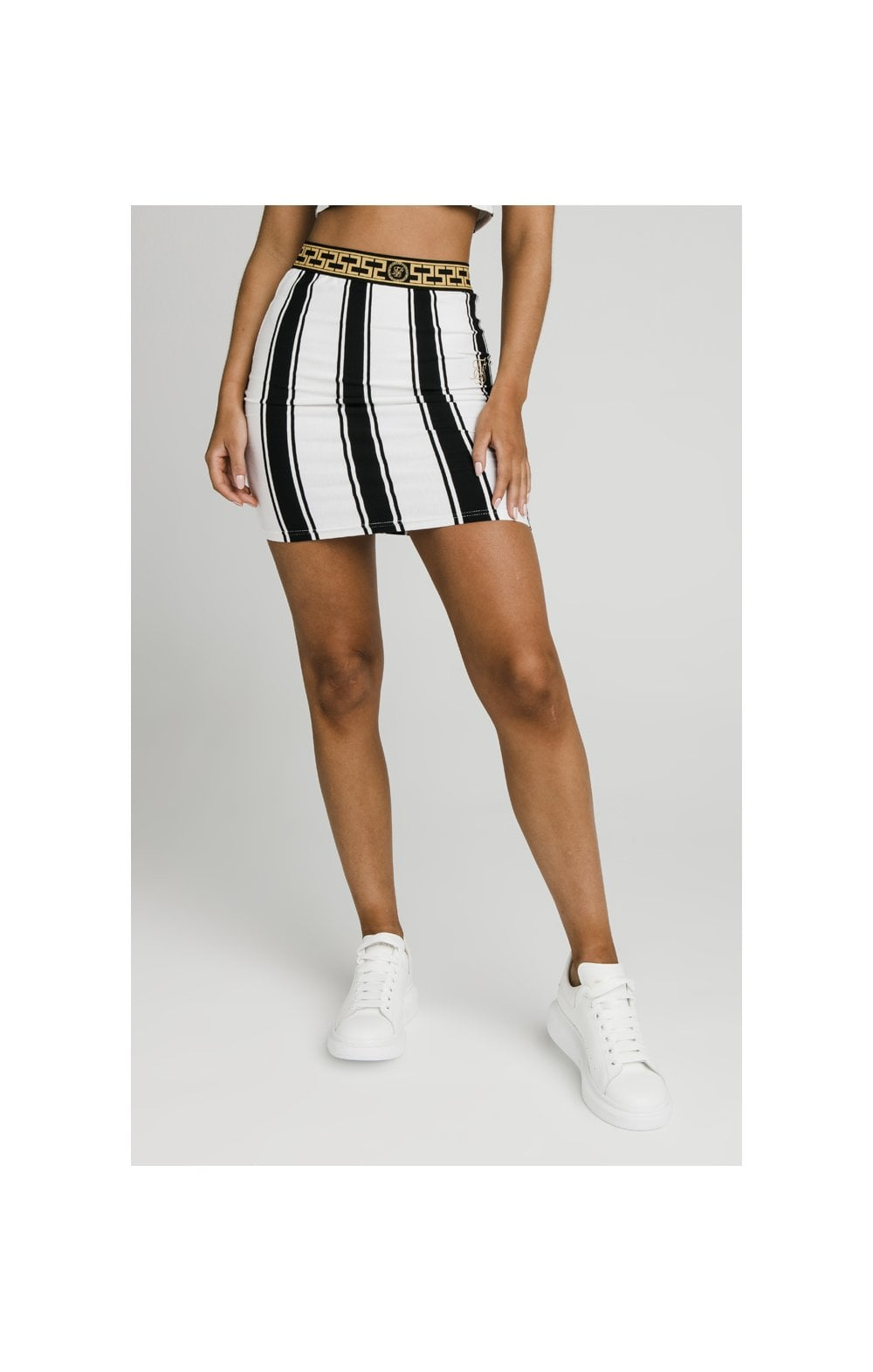 SikSillk Athena Stripe Skirt - Black & White (1)