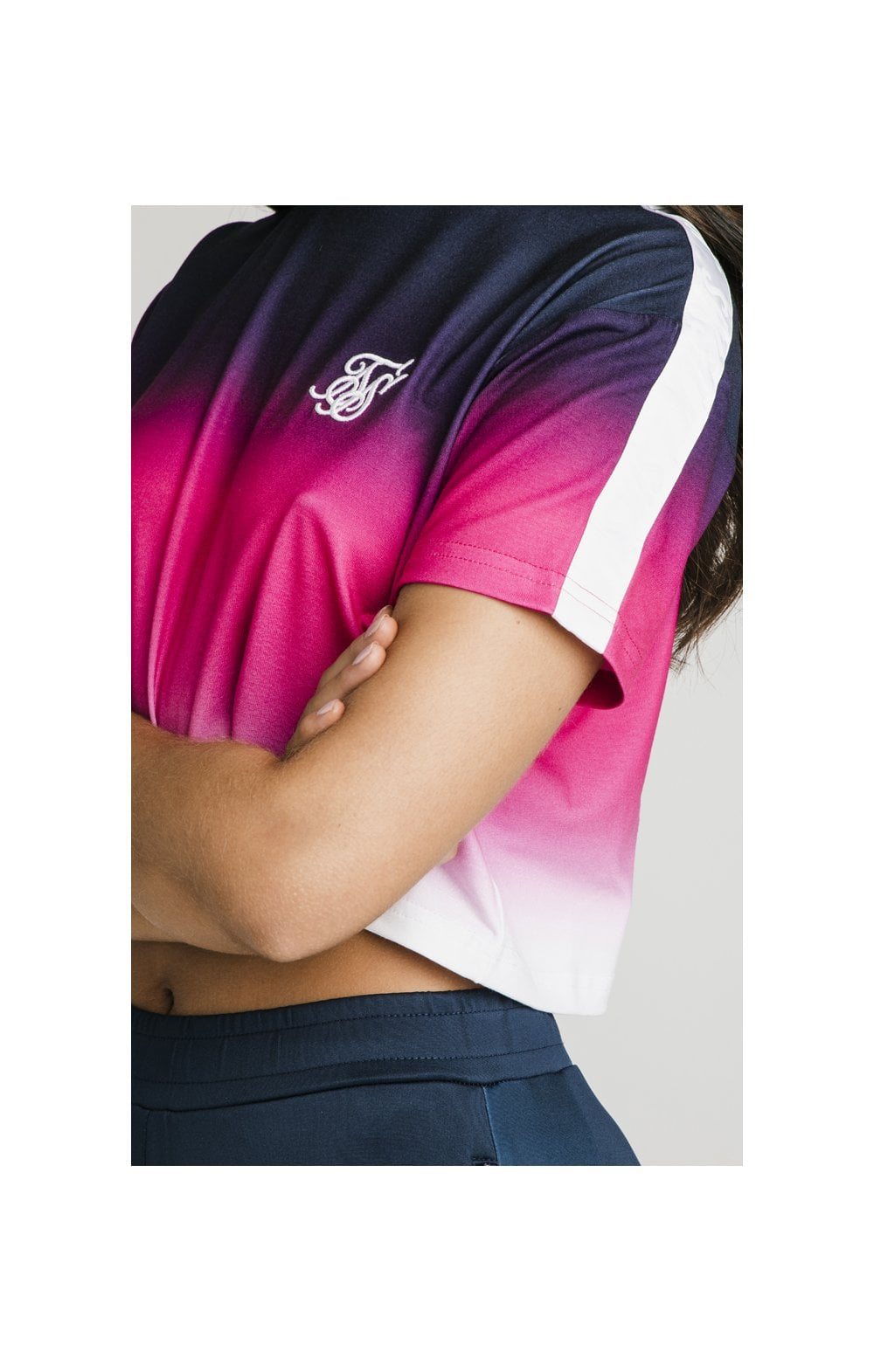 Load image into Gallery viewer, SikSilk Fade Tape Crop Tee - Navy, Pink & White (1)