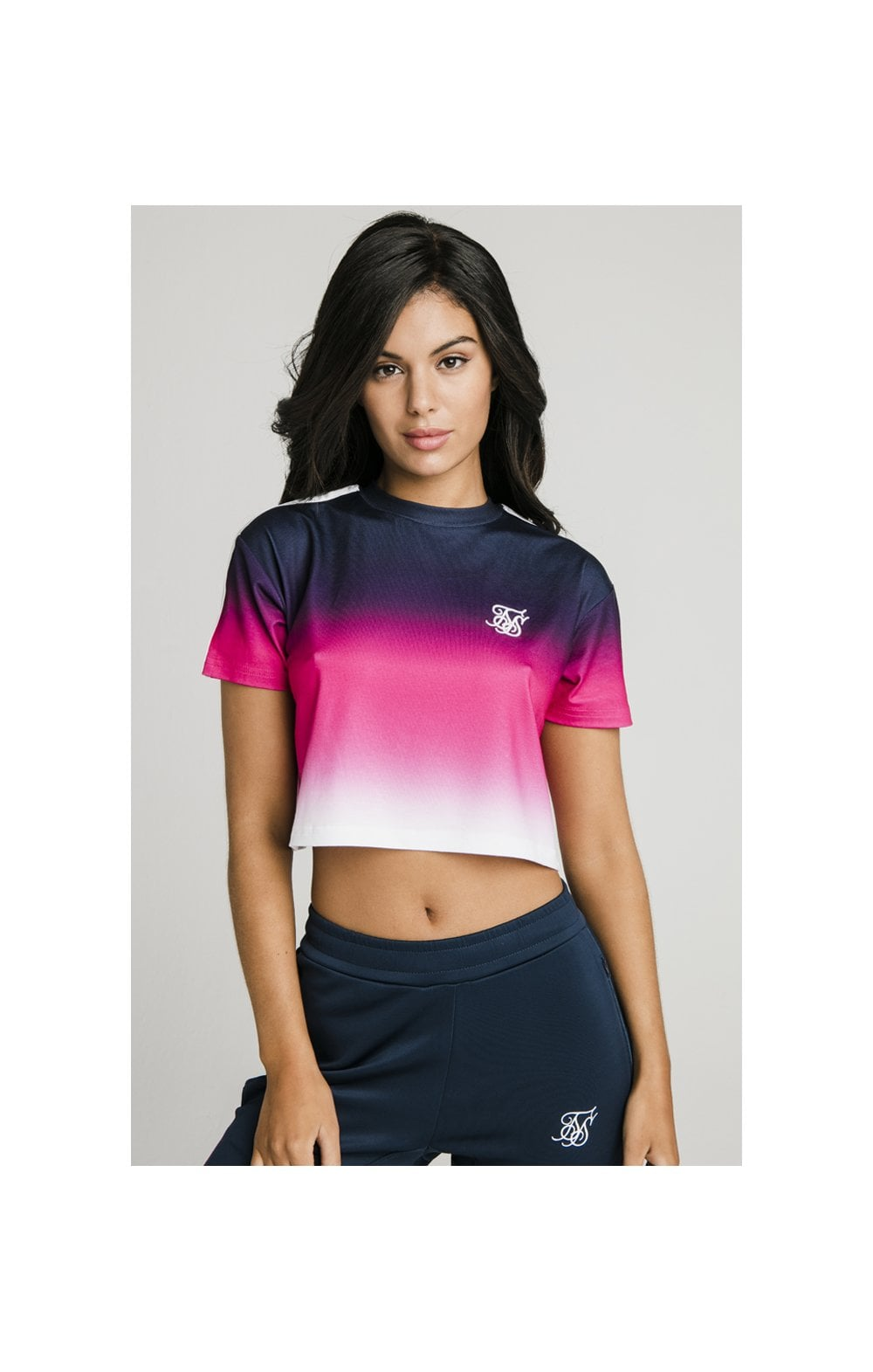 Load image into Gallery viewer, SikSilk Fade Tape Crop Tee - Navy, Pink & White