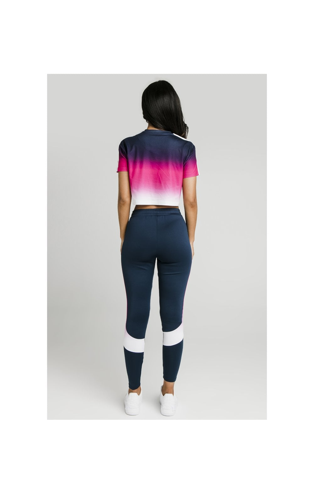 Load image into Gallery viewer, SikSilk Fade Tape Crop Tee - Navy, Pink & White (7)