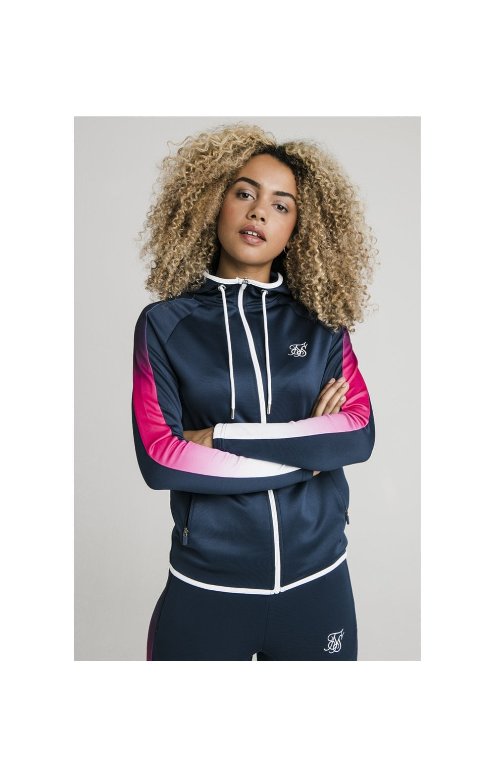 SikSilk Athlete Fade Stripe Zip Through Hoodie - Navy