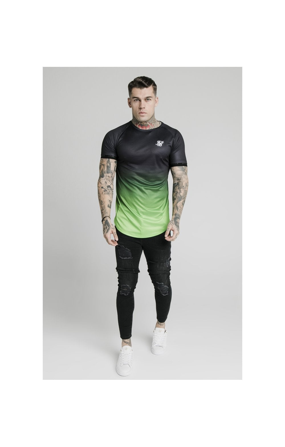 Load image into Gallery viewer, SikSilk S/S Fade Tech Tee - Black & Fluro (2)