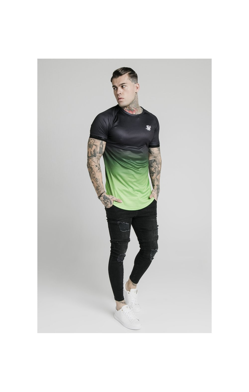 Load image into Gallery viewer, SikSilk S/S Fade Tech Tee - Black & Fluro (3)