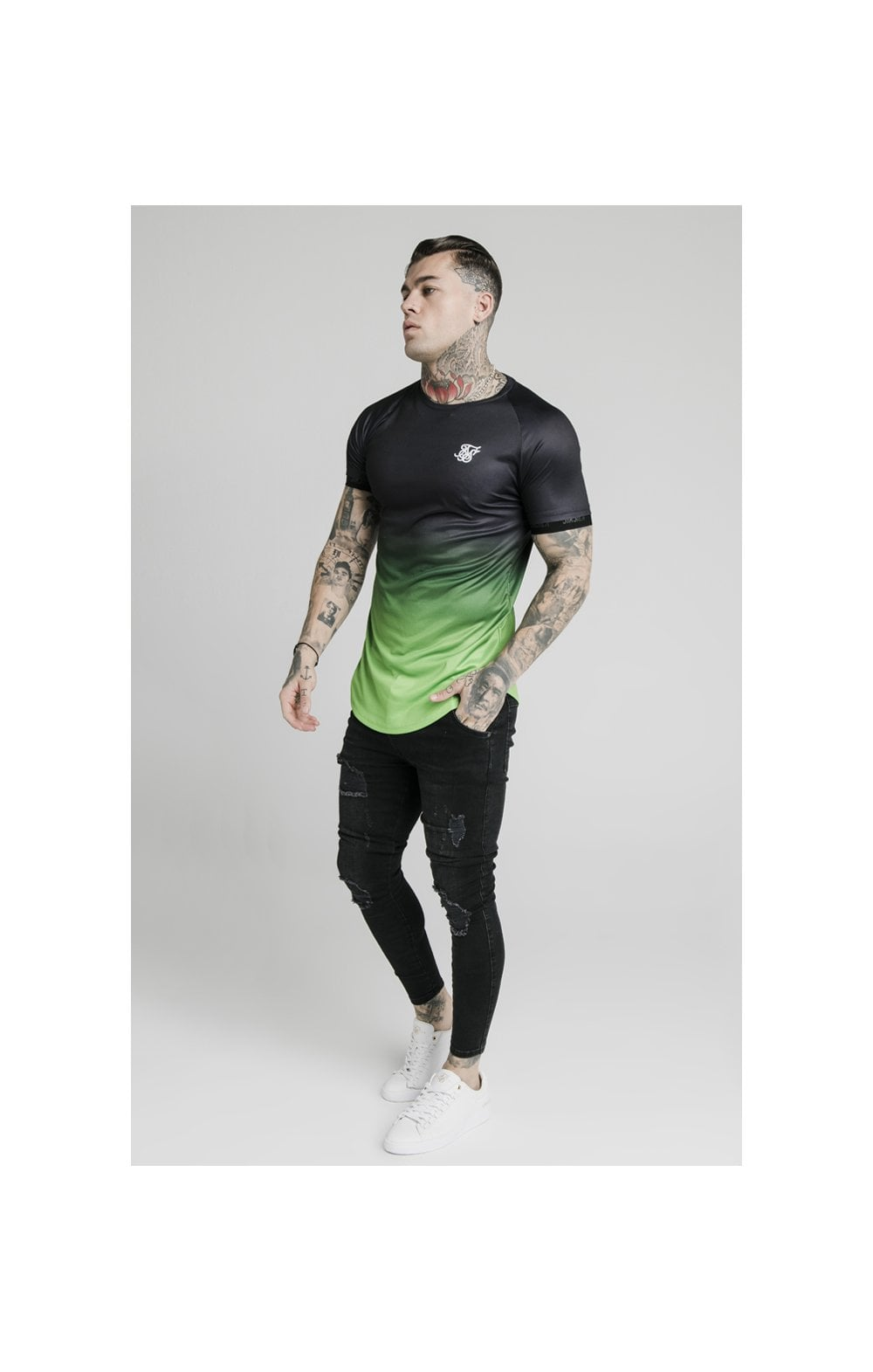 Load image into Gallery viewer, SikSilk S/S Fade Tech Tee - Black & Fluro (4)