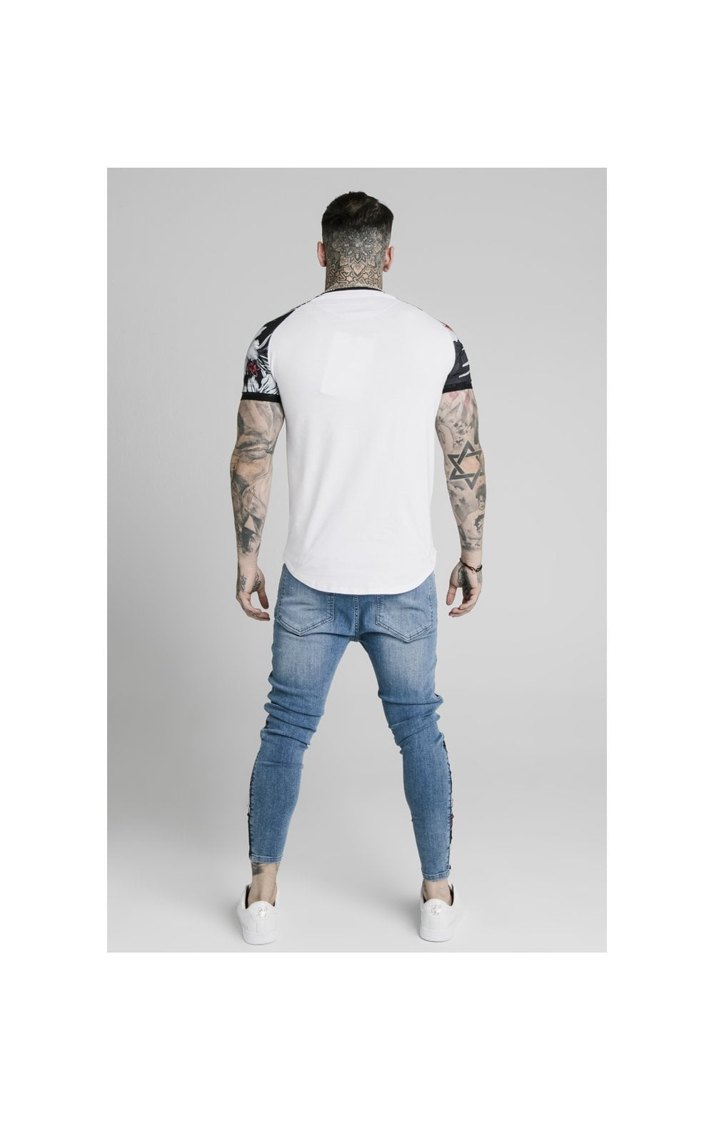 Load image into Gallery viewer, SikSilk S/S Floral Raglan Tech Tee - White (4)