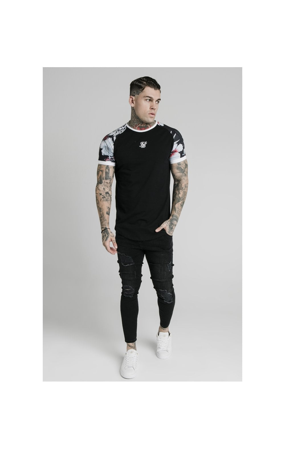 Load image into Gallery viewer, SikSilk S/S Floral Raglan Tech Tee - Black (1)