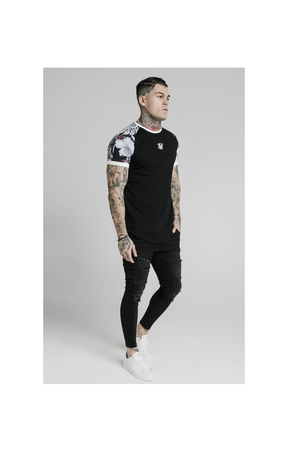 Load image into Gallery viewer, SikSilk S/S Floral Raglan Tech Tee - Black (2)