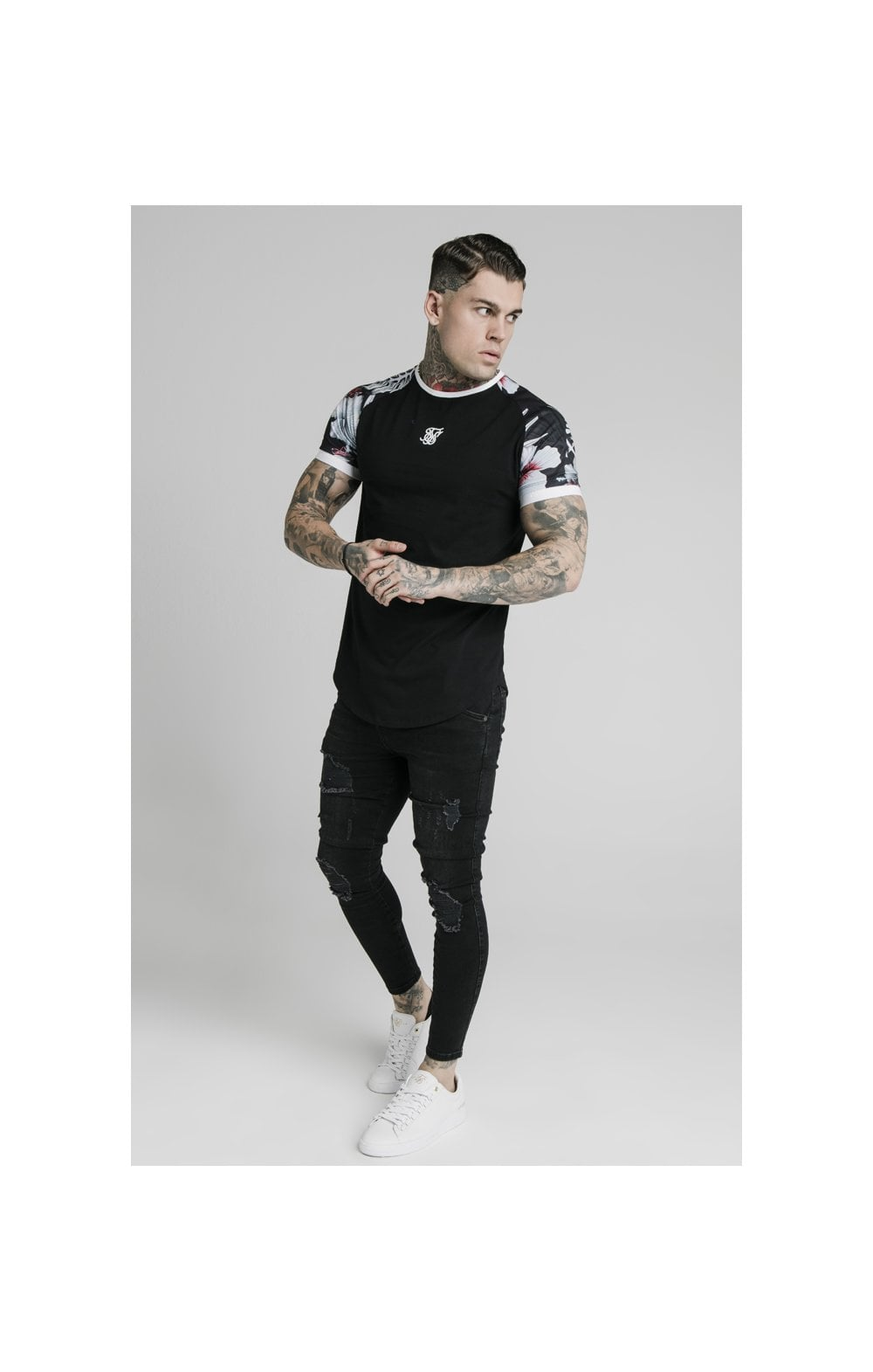 Load image into Gallery viewer, SikSilk S/S Floral Raglan Tech Tee - Black (3)
