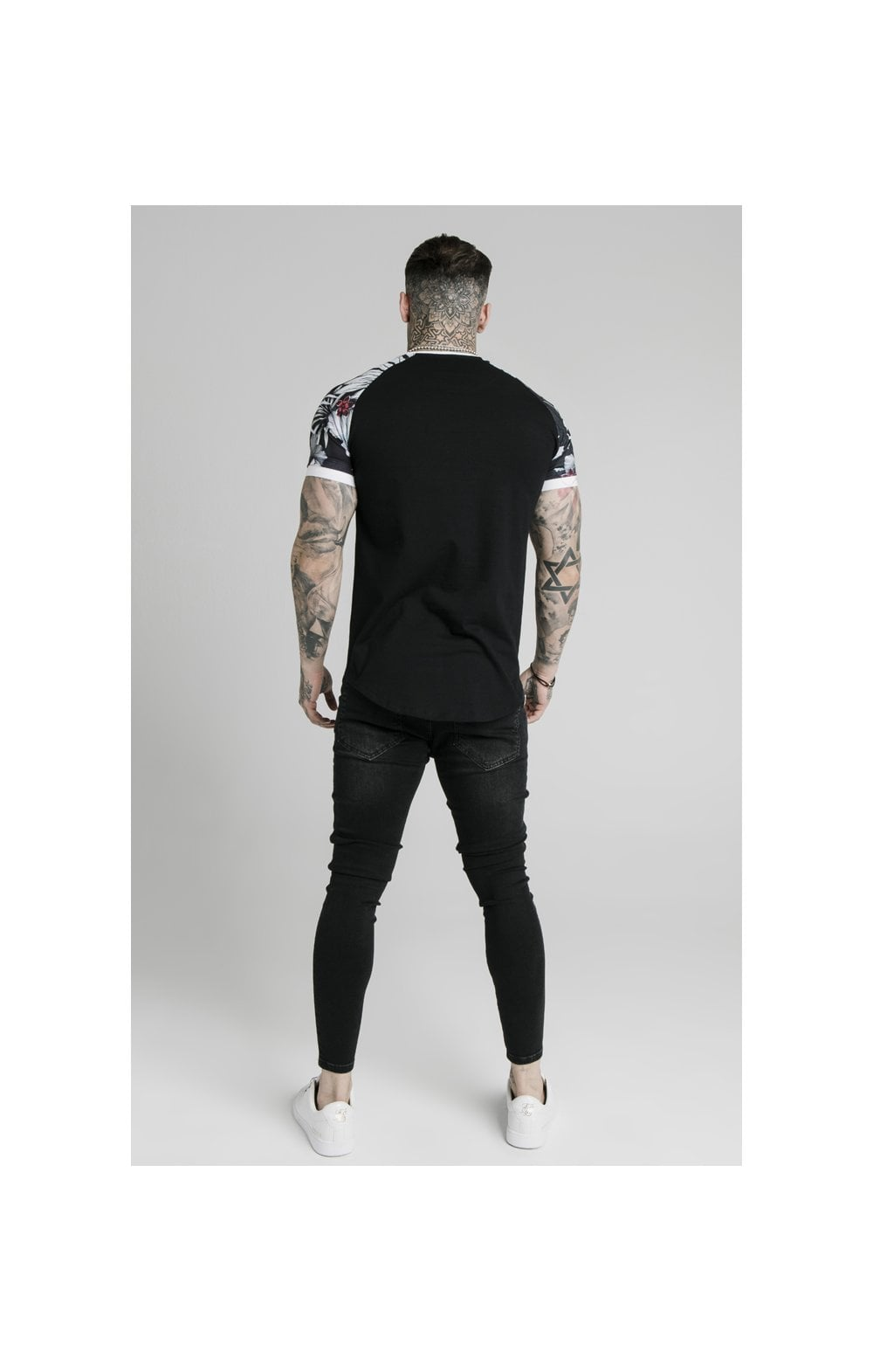 Load image into Gallery viewer, SikSilk S/S Floral Raglan Tech Tee - Black (4)