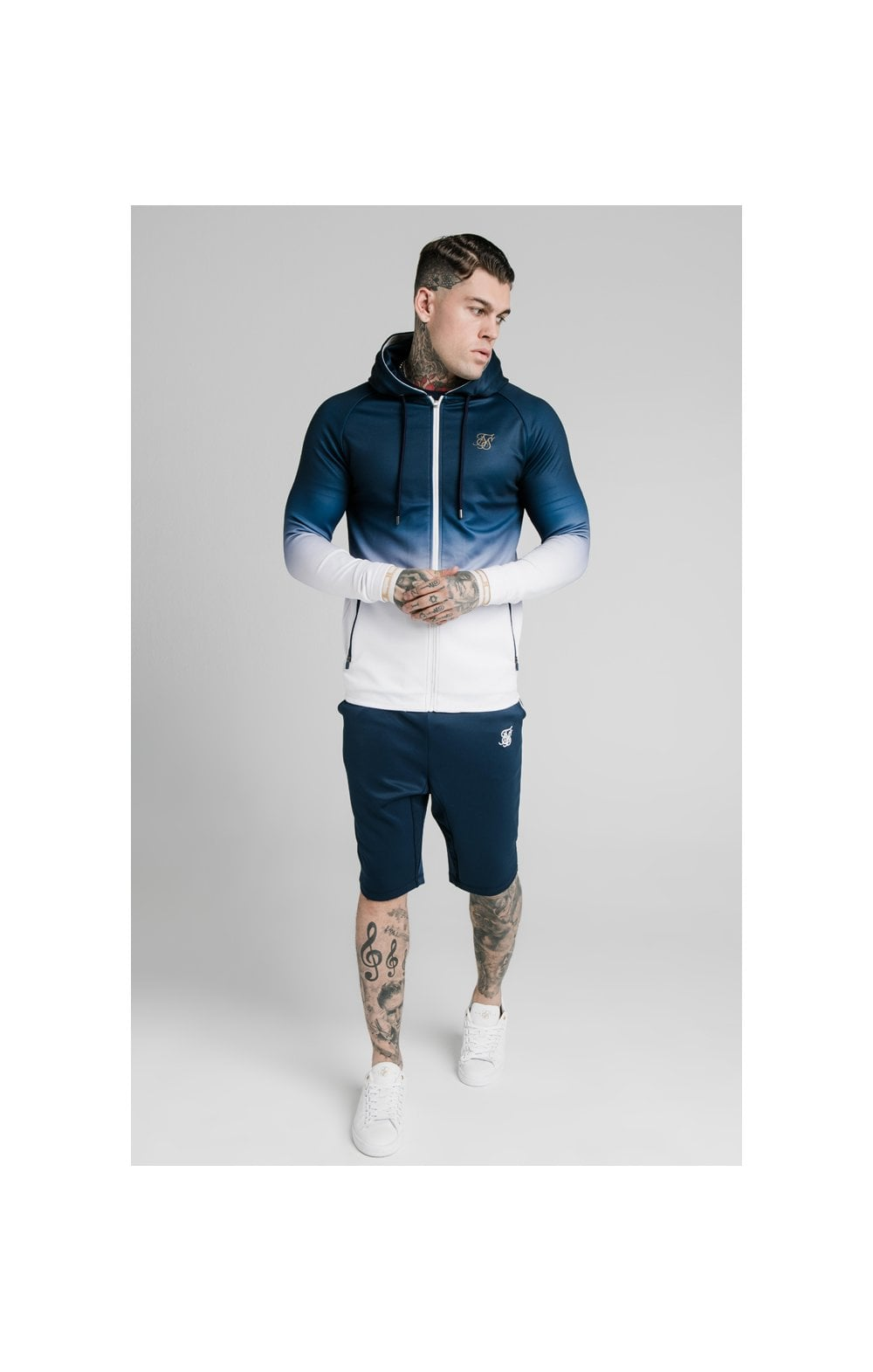 Load image into Gallery viewer, SikSilk Scope Zip Through Hoodie - Navy & White (1)