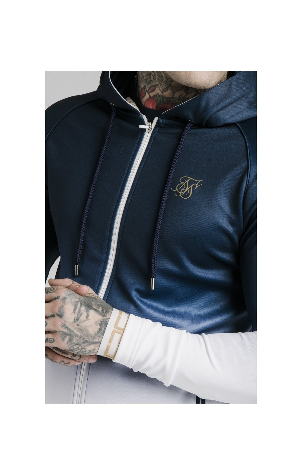 Load image into Gallery viewer, SikSilk Scope Zip Through Hoodie - Navy & White