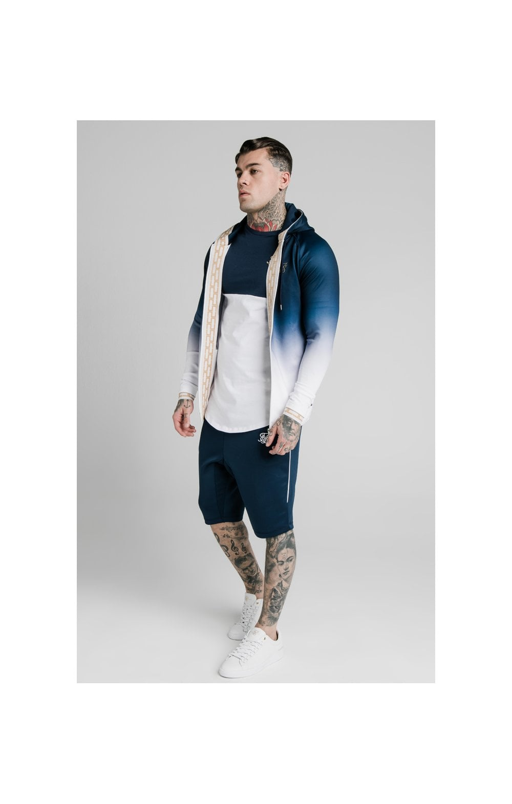Load image into Gallery viewer, SikSilk Scope Zip Through Hoodie - Navy & White (2)