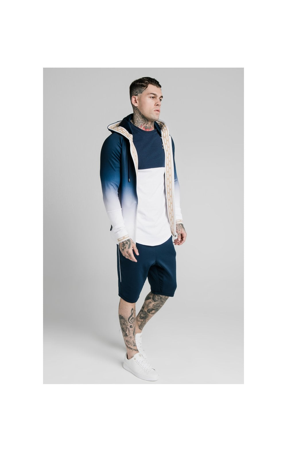 Load image into Gallery viewer, SikSilk Scope Zip Through Hoodie - Navy & White (3)
