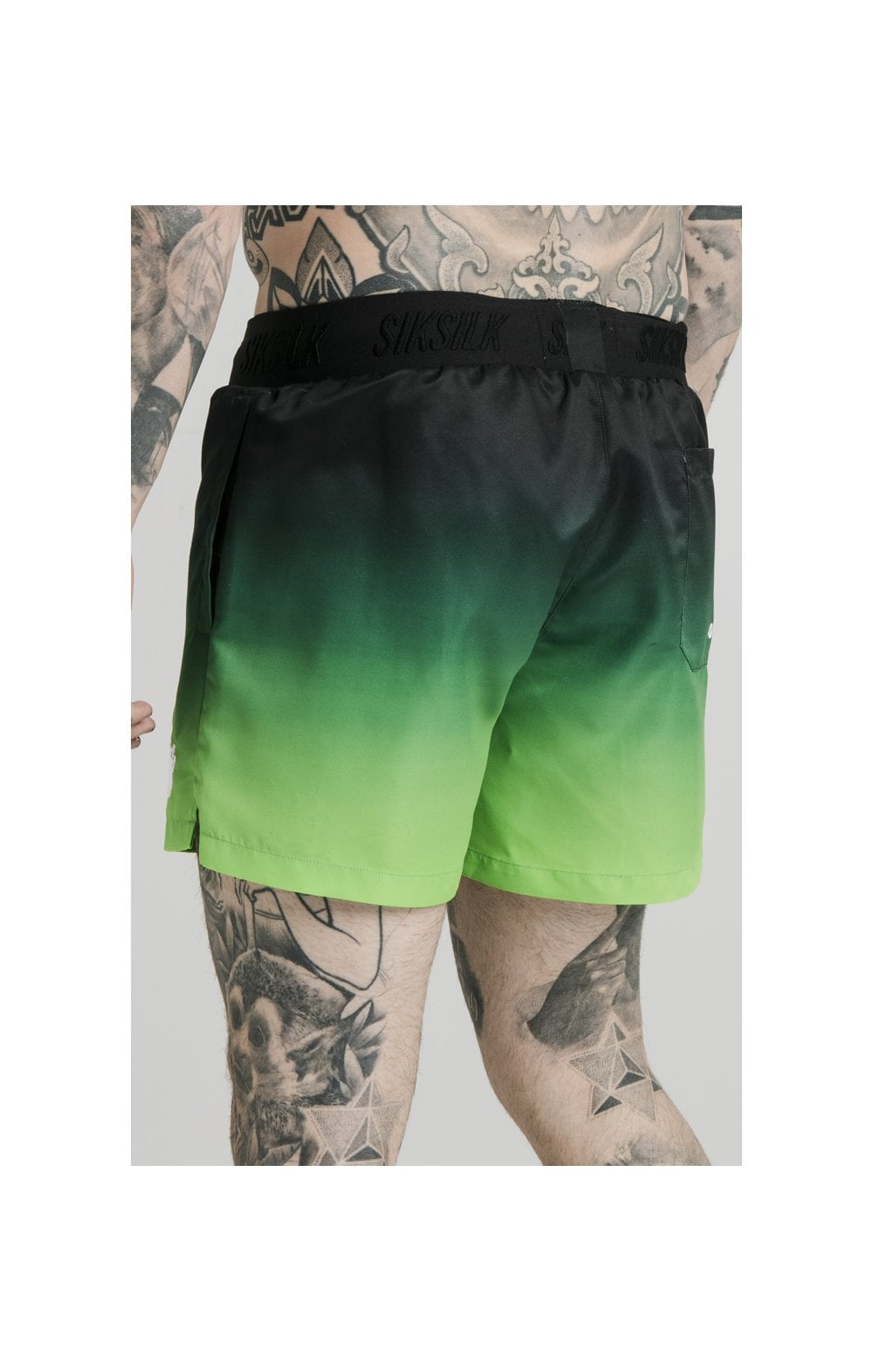 SikSilk Tape Fade Swim Shorts - Black & Fluro (2)