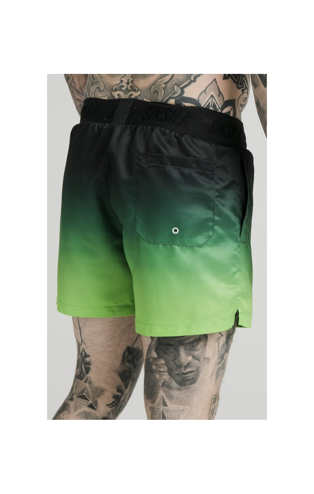 SikSilk Tape Fade Swim Shorts - Black & Fluro (3)