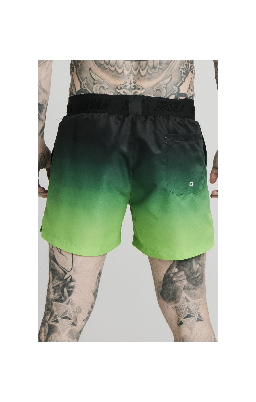 SikSilk Tape Fade Swim Shorts - Black & Fluro (4)
