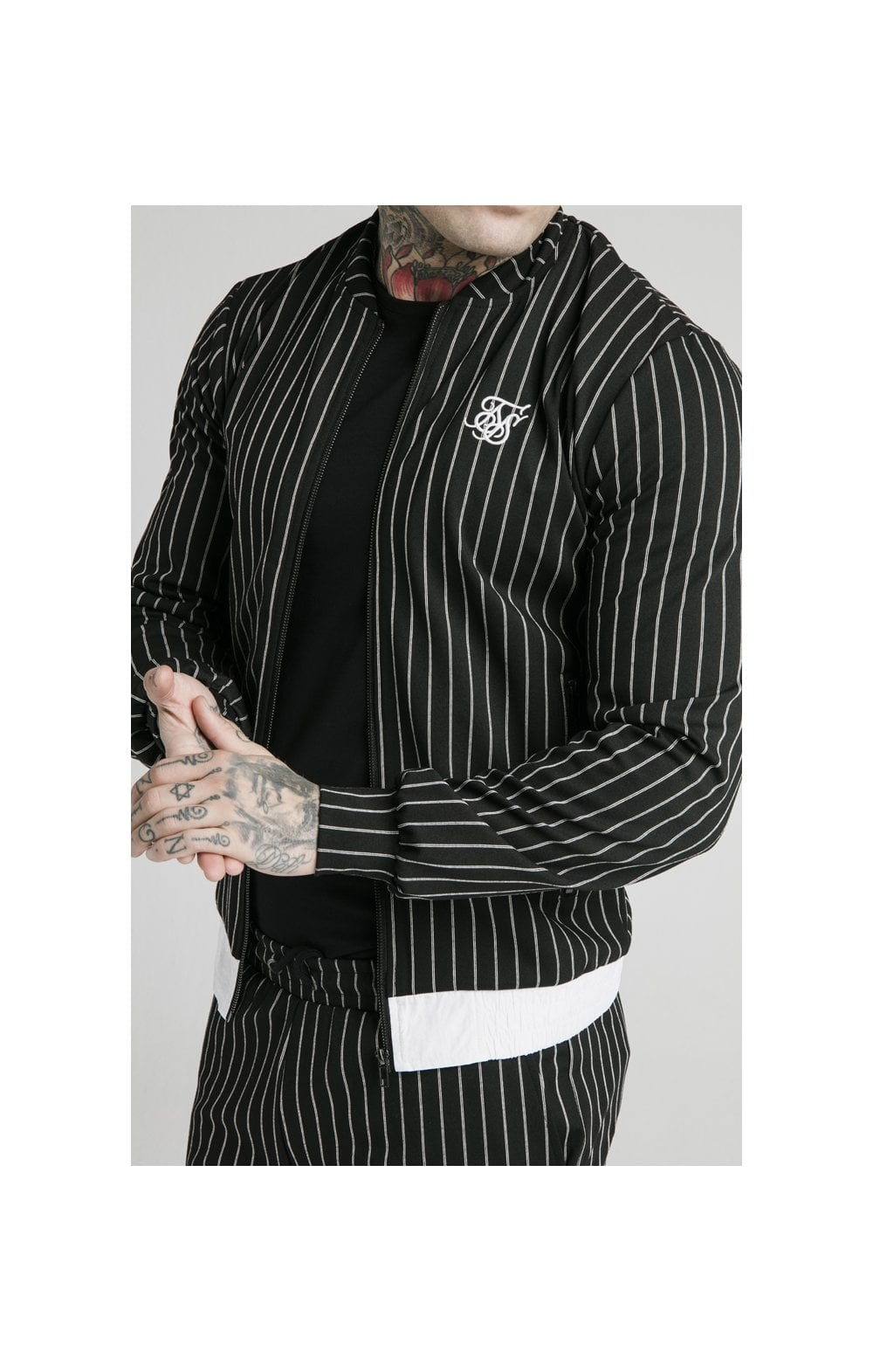SikSilk Pinstripe Bomber Jacket - Black & White (1)