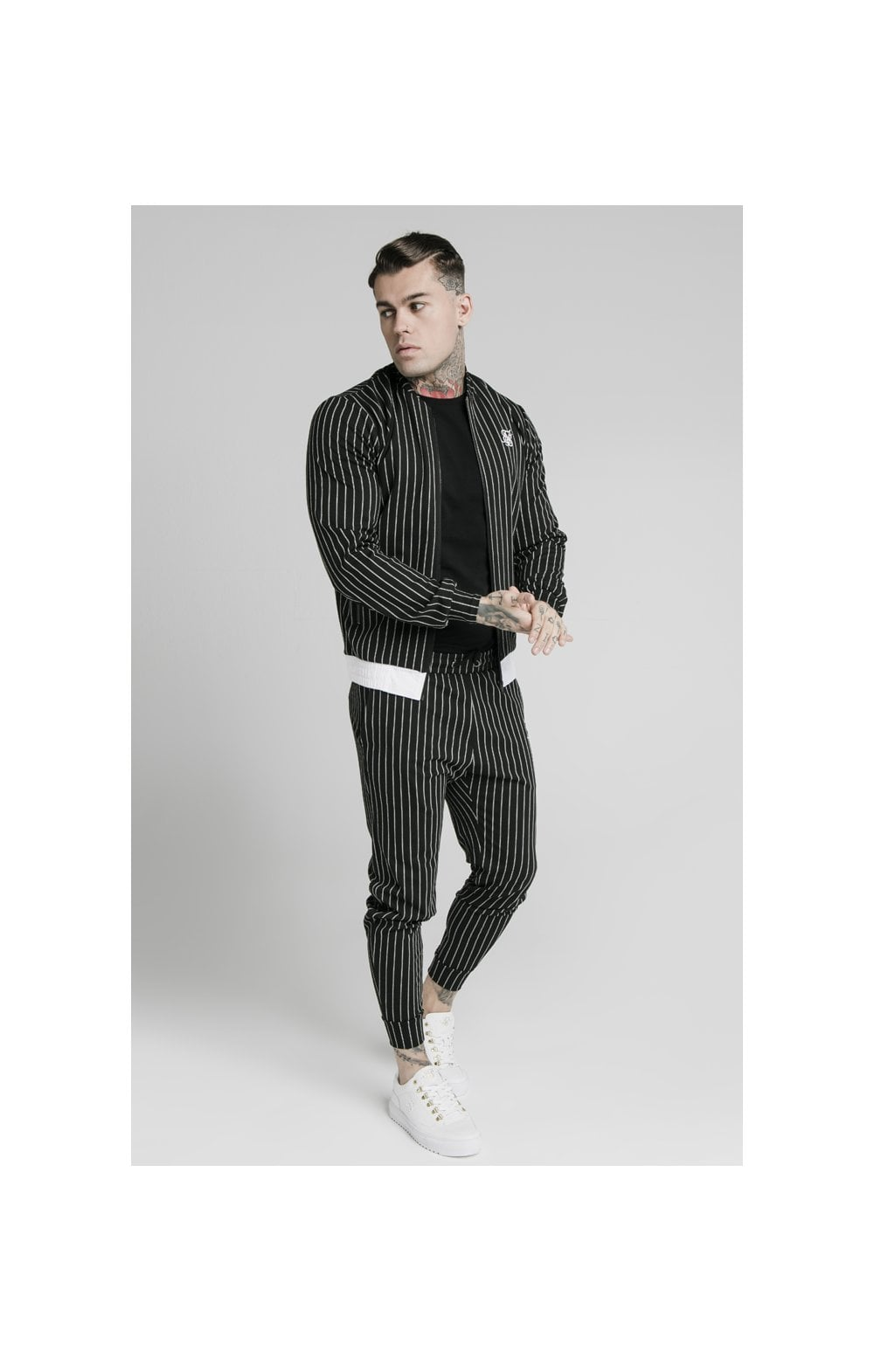SikSilk Pinstripe Bomber Jacket - Black & White (2)