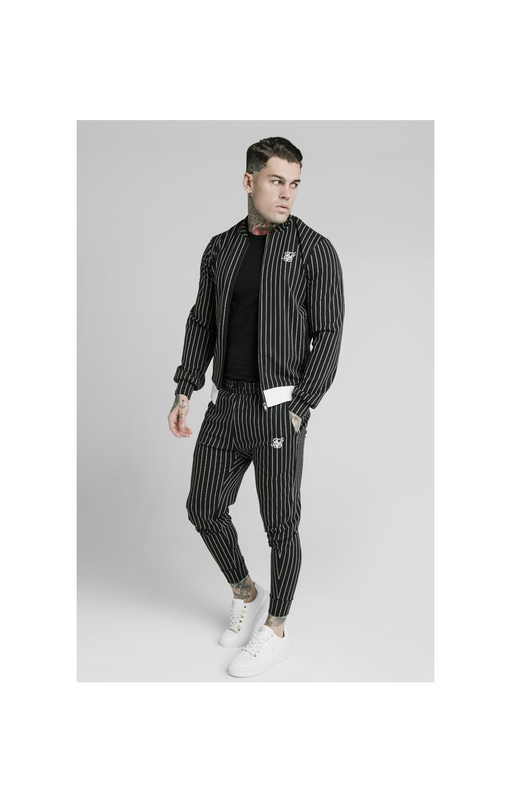 SikSilk Pinstripe Bomber Jacket - Black & White (3)