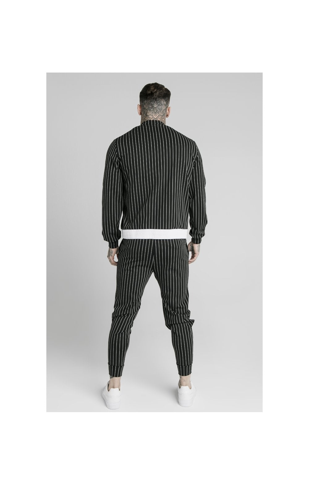 SikSilk Pinstripe Bomber Jacket - Black & White (4)