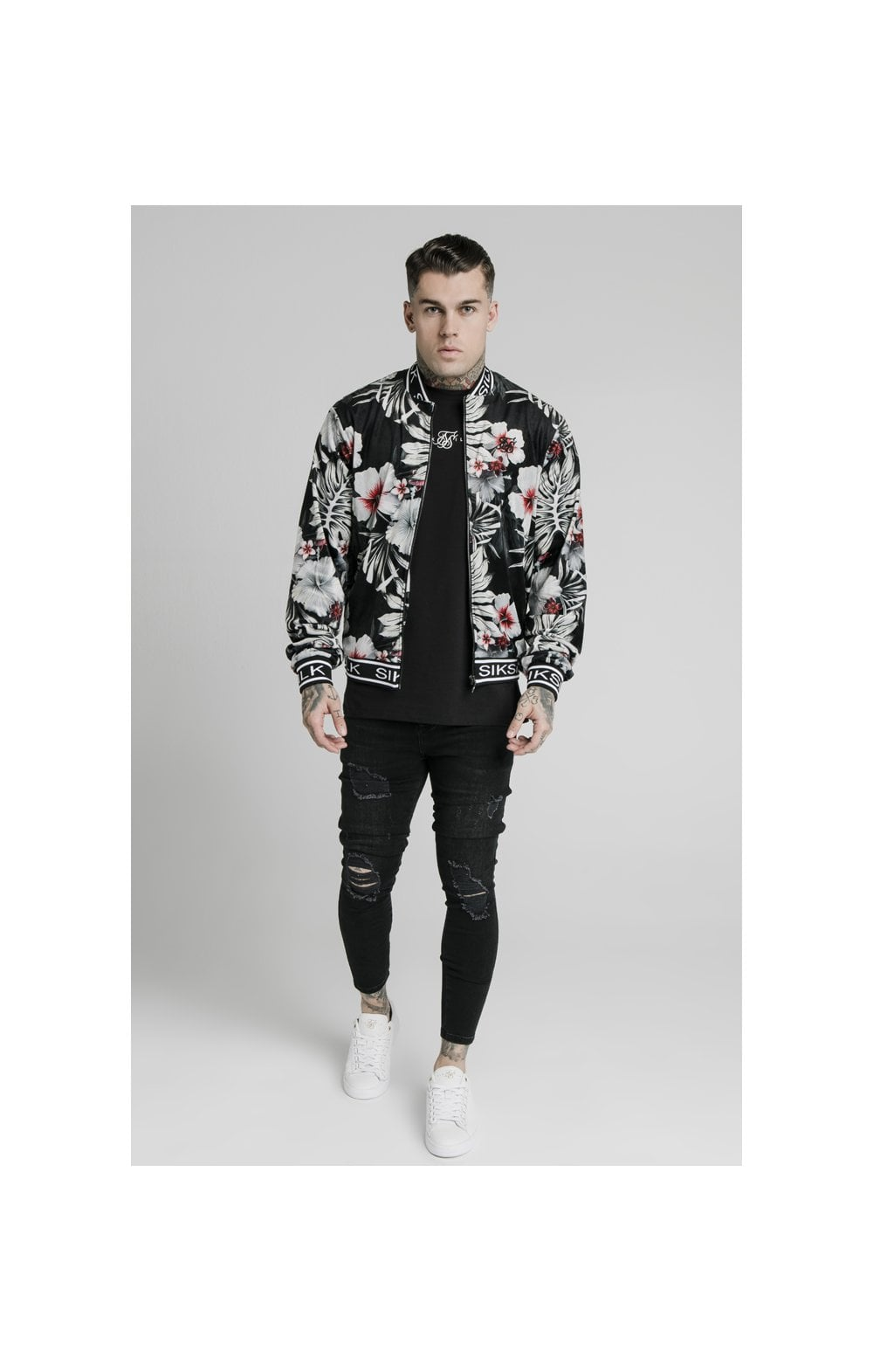 SikSilk Floral Velour Bomber Jacket - Black