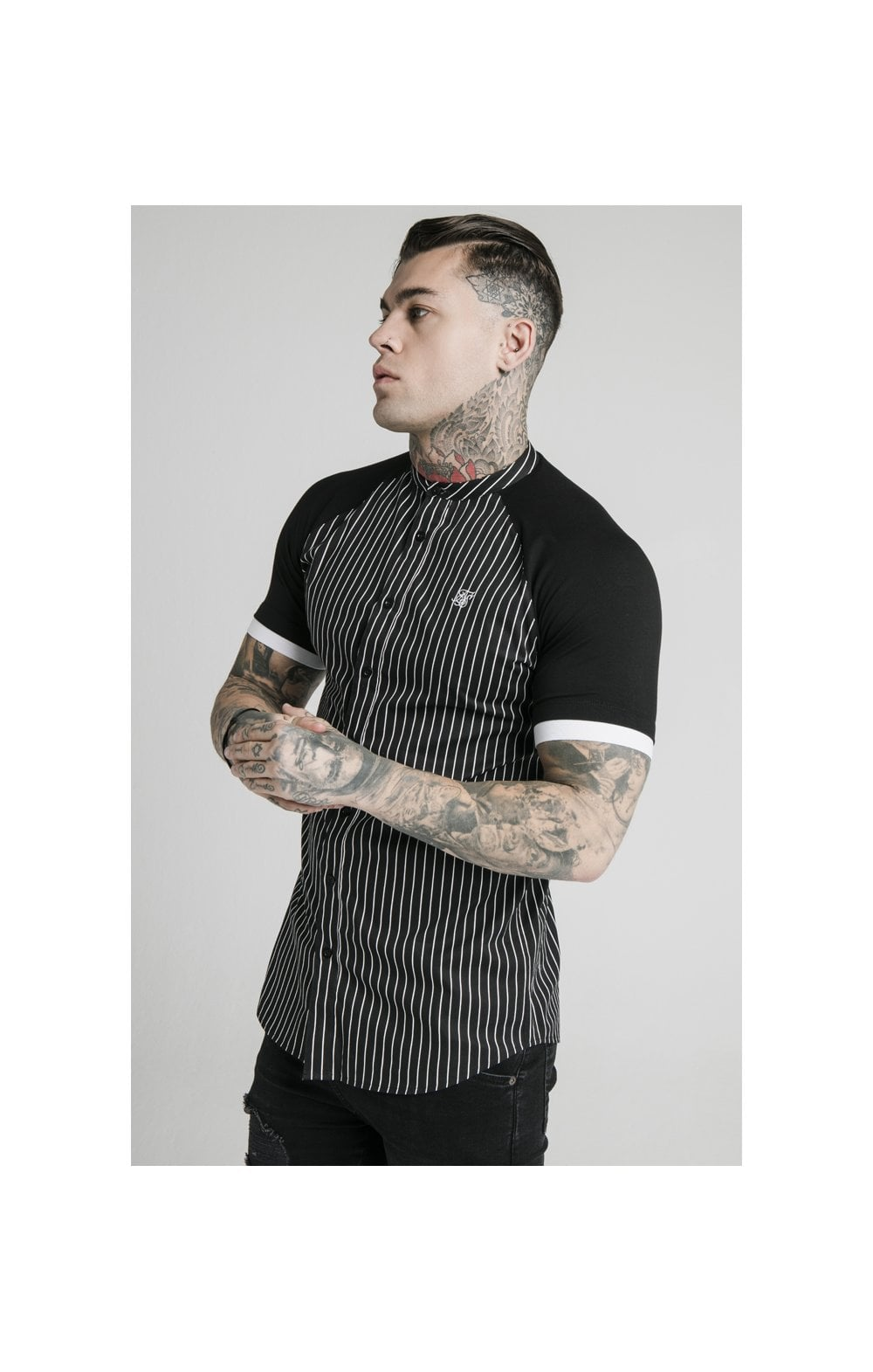 Load image into Gallery viewer, SikSilk S/S Raglan Inset Cuff  Shirt - Black & White