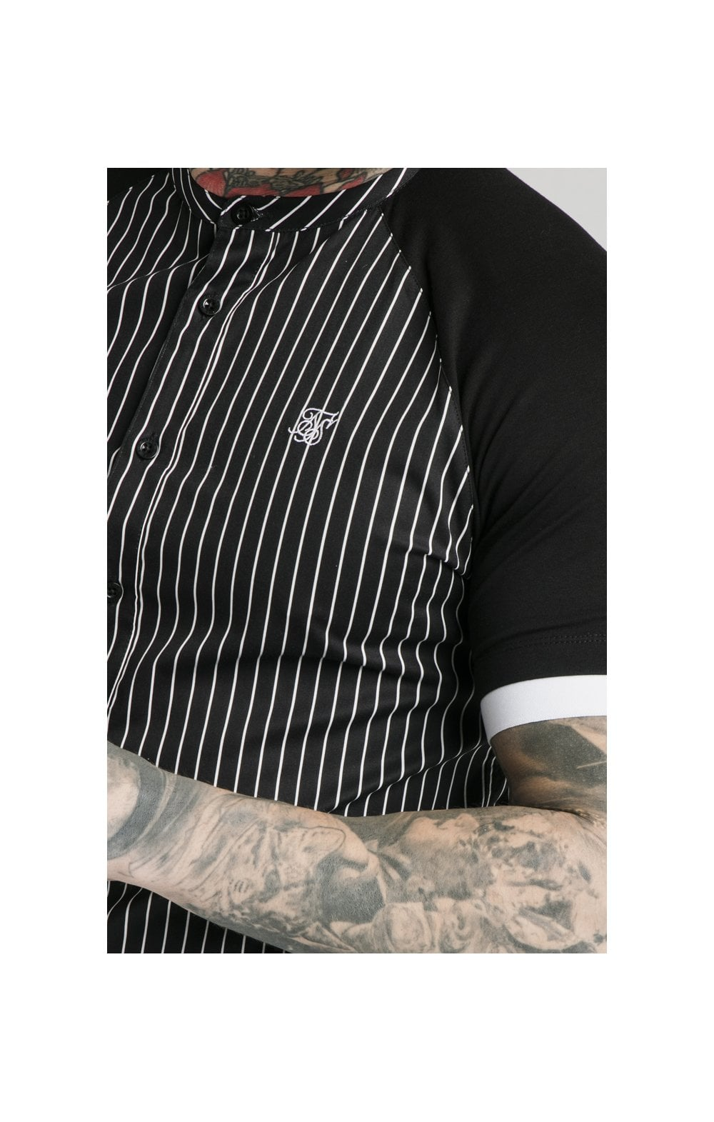 Load image into Gallery viewer, SikSilk S/S Raglan Inset Cuff  Shirt - Black & White (1)