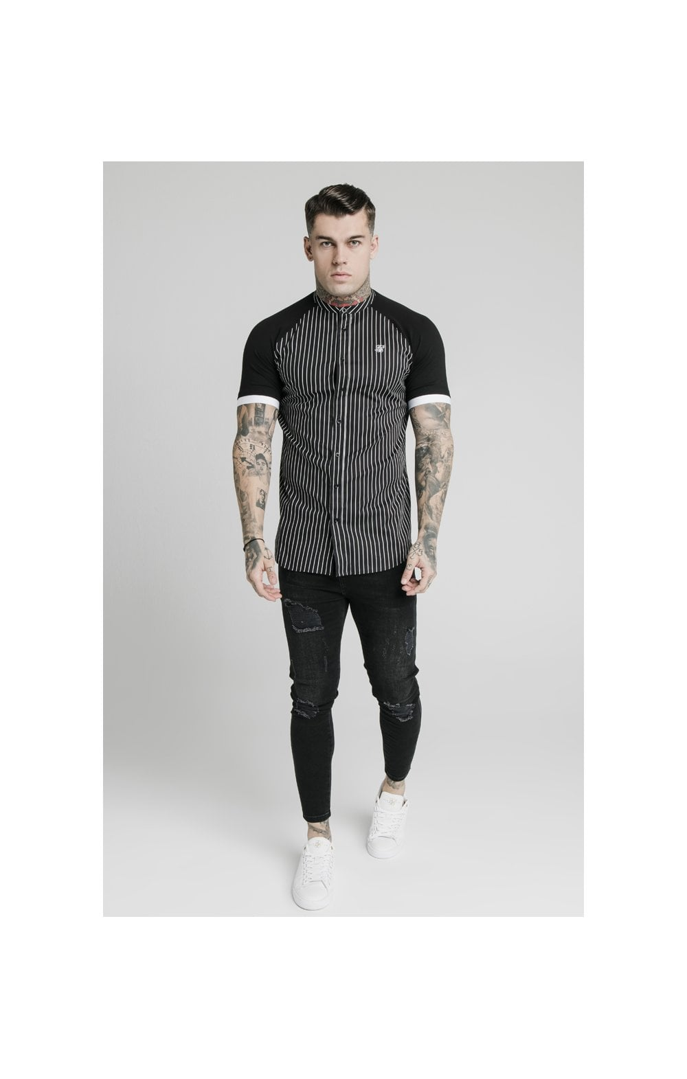 Load image into Gallery viewer, SikSilk S/S Raglan Inset Cuff  Shirt - Black & White (2)