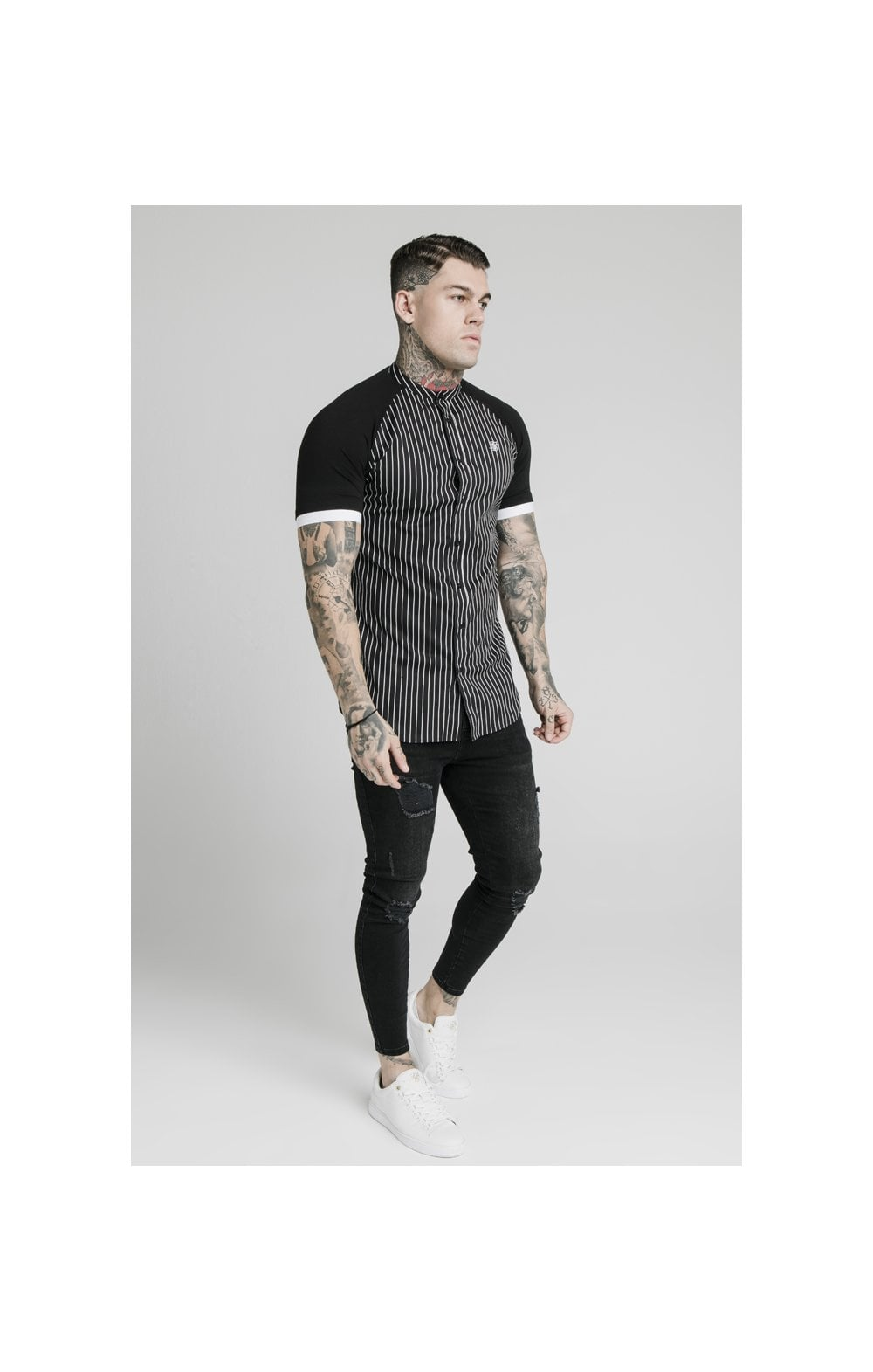 Load image into Gallery viewer, SikSilk S/S Raglan Inset Cuff  Shirt - Black & White (3)