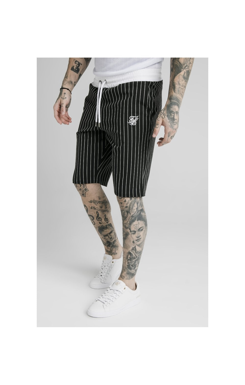 Load image into Gallery viewer, SikSilk Chino Elasticated Long Shorts - Black & White